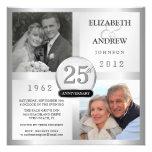25. Jahrestags-silberne Einladungen mit 2 Fotos