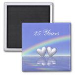 25. Jahrestags-silberne Herzen Magnets