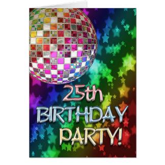 25. Party mit Discoball und Regenbogen der Sterne Karte