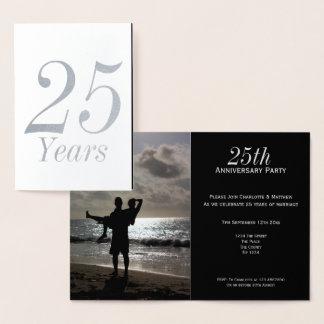 25. Silberne Hochzeits-Jahrestags-Party Folienkarte