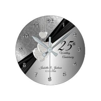 25. Silberner Hochzeitstag-Andenken-Entwurf Runde Wanduhr