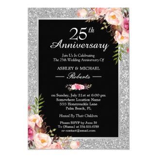 25. Silberner Hochzeitstag-elegantes Blumen 12,7 X 17,8 Cm Einladungskarte