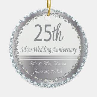 25. Silberner Hochzeitstag-Entwurf Rundes Keramik Ornament