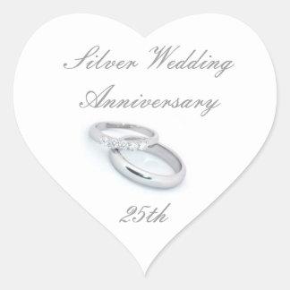 25. Silberner Hochzeitstag Herz-Aufkleber