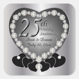 25. Silberner Hochzeitstag Quadratischer Aufkleber