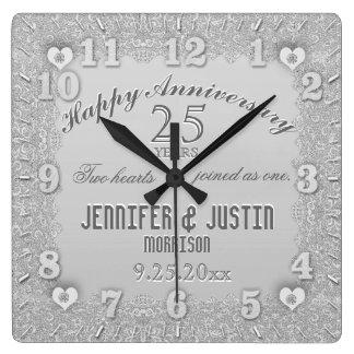 25. Silberner Hochzeitstag Wanduhr