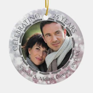 25. Silberner Jahrestag, 2-Sided, 2-Foto Rundes Keramik Ornament