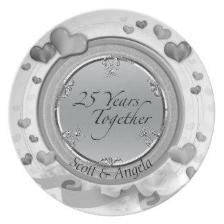 25. Silbernes Hochzeitstag-Andenken 25 Jahre Teller