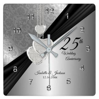 25. Silbernes Hochzeitstag-Andenken Quadratische Wanduhr