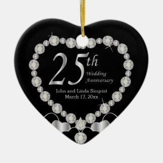 25. Silbernes Hochzeitstag-Herz Keramik Ornament