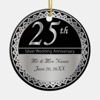 25. Silbernes Hochzeitstag-Memento Rundes Keramik Ornament