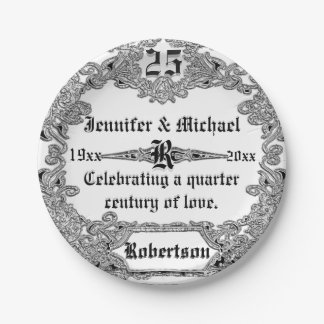 25. Silbernes Jahrestags-Gewohnheits-Monogramm Pappteller