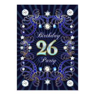 26. Geburtstags-Party laden mit Massen der Juwelen 12,7 X 17,8 Cm Einladungskarte