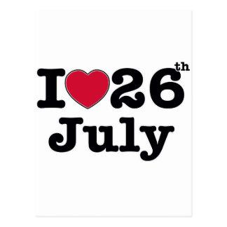 26. Juli mein Tag des Geburtstages Postkarte