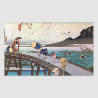 27. 掛川宿, 広重 Kakegawa-juku, Hiroshige, Ukiyo-e Rechtecksticker