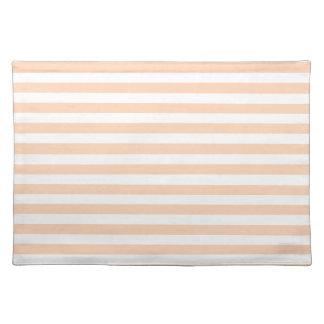 27 - Dünne Streifen - weiß und tiefer Pfirsich Tischset