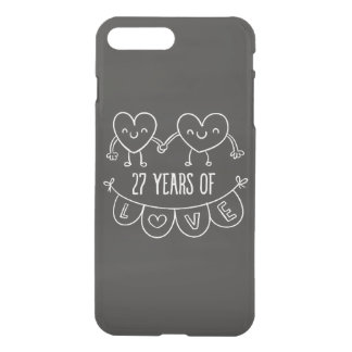 27. Jahrestags-Geschenk-Kreide-Herzen iPhone 8 Plus/7 Plus Hülle