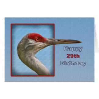 29. Geburtstags-Karte mit Sandhill Kran-Vogel Karte