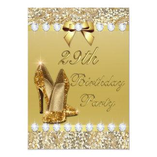 29. Geburtstags-noble GoldHeelssequins-Diamanten 12,7 X 17,8 Cm Einladungskarte