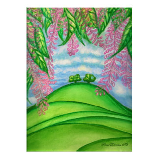 2 Bäume u. das Macadamia-Blumen-Malen Poster