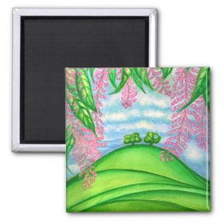 2 Bäume u. das Macadamia-Blumen-Malen Quadratischer Magnet