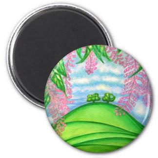 2 Bäume u. das Macadamia-Blumen-Malen Runder Magnet 5,1 Cm