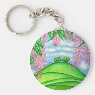 2 Bäume u. das Macadamia-Blumen-Malen Schlüsselanhänger