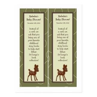2 Buch-Kennzeichen Forrest Tiereulen-Rotwild-Vogel Postkarte