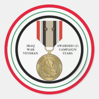 2 DER KAMPAGNEN-STERN-IRAK-KRIEGSVETERAN RUNDER AUFKLEBER