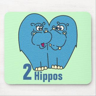2 Flusspferde in der Liebe niedliches Mousepad