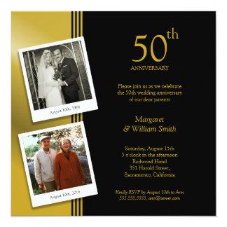 2 Foto-goldenes 50. Hochzeits-Jahrestags-Party Quadratische 13,3 Cm Einladungskarte