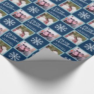 2 Foto - Marine-Blau-frohe Weihnacht-Schneeflocken Geschenkpapier