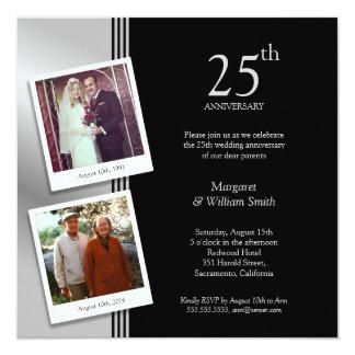 2 Fotos versilbern 25. Hochzeits-Jahrestags-Party Karte