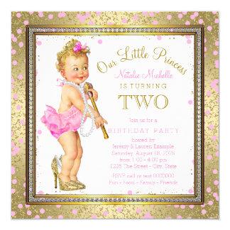 2. Geburtstag Party Prinzessin- Quadratische 13,3 Cm Einladungskarte