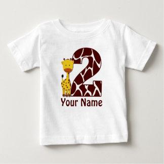 2. Geburtstags-Giraffen-personalisiertes Shirt