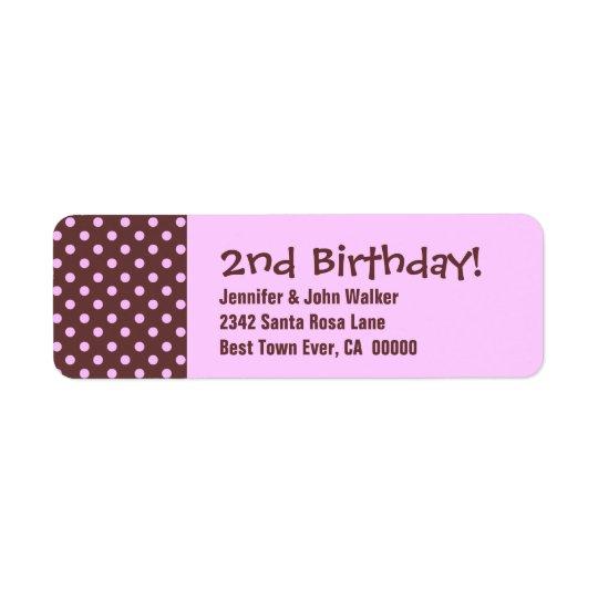 2. Geburtstags-niedliches Polka-Punkt-Muster Rücksendeetikett