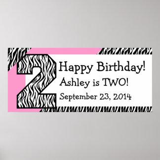 2 GeburtstagZebra mit rosa individuellem Namen Plakate