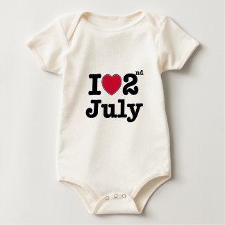 2. Juli mein Tag des Geburtstages Baby Strampler
