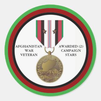 2 KAMPAGNEN-STERN-AFGHANISTAN-KRIEGSVETERAN RUNDER AUFKLEBER