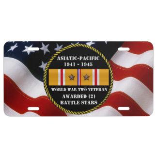 2 KAMPF-STERNE WWII asiatischer pazifischer US Nummernschild