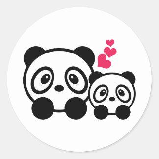 2 niedliche Panda-Aufkleber Runder Aufkleber