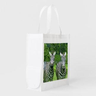 2 niedliche Zebras Wiederverwendbare Einkaufstasche