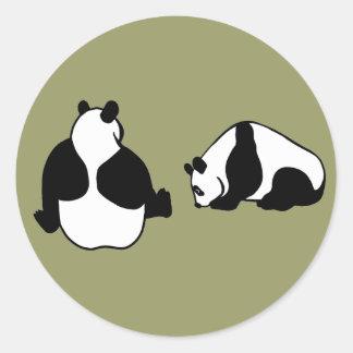 2 Pandas Runder Aufkleber