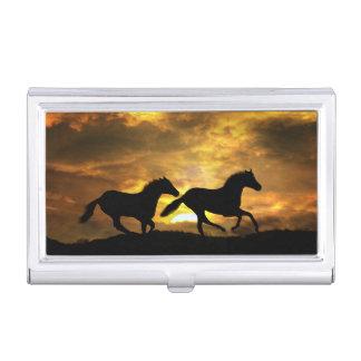 2 Pferde, die in die Sonnenuntergang-Visitenkarte Visitenkarten Etui