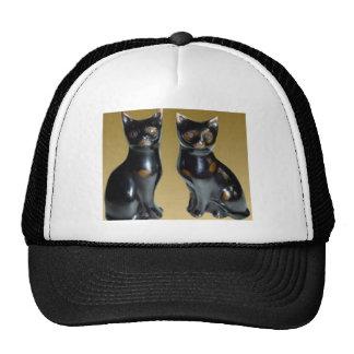 2 schwarze KATZEN - Haustier-Statue Baseball Kappe