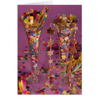 2 Sektgläser gefüllt,Neujahr,Glückwunsch,Prosit, Karte