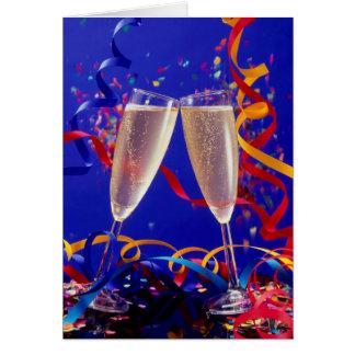 2 Sektgläser gefüllt,Neujahr,Glückwunsch,Prosit, Karten