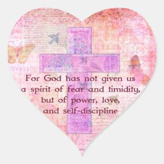 2 Timothy biblische Zitat-Schrift des 1:7 Herz-Aufkleber