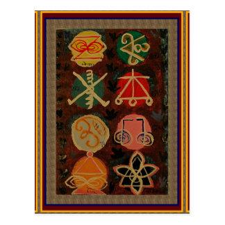 2 Verkauf Karuna Reiki heilende Symbol-Kunst Postkarte