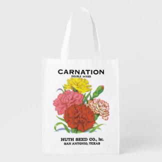 2 verschiedene Gartennelken, Vintage Einkaufstasche